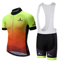 Men's Reflective Cycling Set Cycle Jersey Top & Padded (Bib) Shorts Coolmax Kit