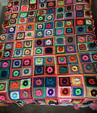 VINTAGE GRANNY SQUARES AFGHAN BLANKET THROW Multi colored w ROSETTES Crocheted