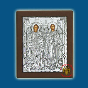 Orthodox Icons Silver Cover Handpainted Male Saints Wooden Ikonen Silber Oklad