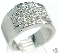 Solid 925 Sterling Silver Simulated Diamond Men's Cross Ring Size-11 '