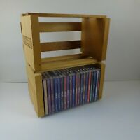 Lot of 2 Sound Warehouse 20 CD Natural Wood Crate Storage Box CD Holders