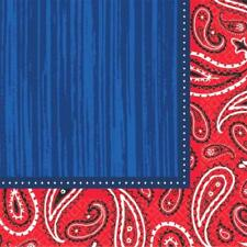 Bandana & Blue Jeans Country Wild Western Theme Party Paper Beverage Napkins
