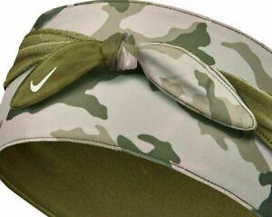 NWT Nike WOMENS DRY HEAD TIE Reversible GREEN CAMO Bandana SWEAT WICKING   86418