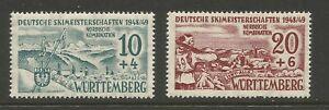 FRENCH ZONE - WURTTEMBERG 1949, SKI CHAMPIONSHIPS (2), MI 38-39 MNH**