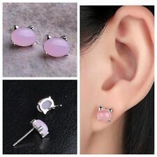 Women Cute Cat Ear Stud Earrings Natural Stone Lovely Jewelry Girl Accessories