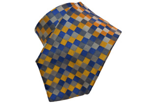 $260 NEW GUCCI BLUE YELLOW GRAY SQUARES MOTIF SILK TWILL TIE HAND MADE IN ITALY
