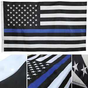 2.5x 4ft Embroidered USA Police Thin Blue Line 600D Nylon Flag 2.5' x 4' Sleeve