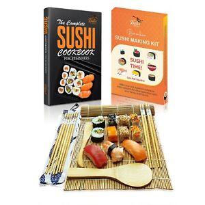 Sushi Making Kit Bamboo Roller Rice Mat Rolling Gift Maker Set Beginners Book