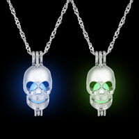 Luminous Necklace Hollow Out Locket Glow In The Dark Skull Pendant Silver Chain