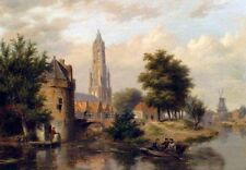 Beautiful artwork Oil painting View Of A Riverside Dutch Town with canoes church