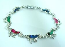 7.75 Inch  New Mustang Horses Bracelet with Paua Shell  Inlay  19.5 cm