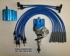 FORD 221-260-289-302 BLUE Small Female HEI Distributor,COIL & Spark Plug Wires