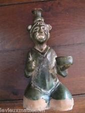statuette en terre cuite vernissée verte origine asiatique 19ème
