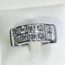 2 Ct Round Cut Diamond 14K White Gold Over Men's Engagement Ring Wedding Band
