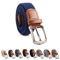 UK Seller Men Women Canvas Cotton Elastic Woven Leather Pin Buckle Waist Belt PS