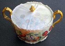 Antique Jean Pouyat Limoges France Cracker Jar Hand Painted & Artist Signed.