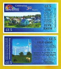 Scotland - £E5 Local Eko Banknote current series with an Eco-Friendly agenda.UNC