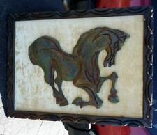 Old Vintage MCM Mid Century Modern Modernist Witco Wall Art Carving Horse Plaque
