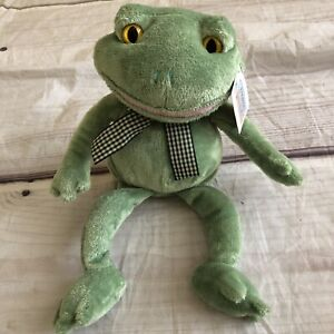 """Animal Alley Frog seated Gingham bow Toys r Us sitting 7"""""""
