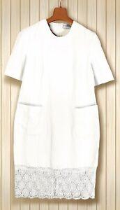 GIVENCHY Kleid Leinen Spitze Gr. M 40 42 Damen Sommer weiß edel Etui Dress K15