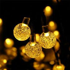 Solar Bulb LED String Lights Chain Outdoor Waterproof Ball Garland Fairy Light