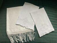 3 VINTAGE WHITE  ESTATE LINENS  FANCY TOWELS, MONOGRAM C