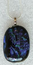 """Blues Greens & Purples Large Genuine Dichroic Glass Necklace 18""""/46cms"""
