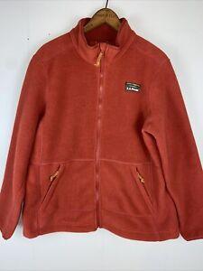 LL Bean Mountain Classic Fleece Jacket Womens Full Zip Sz M Petite Red Ochre