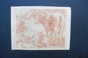 DUTCH SCHOOL 17thC - ANIMATED LANDSCAPE WITH COWS - RED CHALK CIRCLE BLOEMAERT