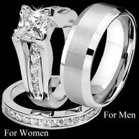Couple Rings His Her Stainless Steel Anniversary Wedding Engagement Ring Set