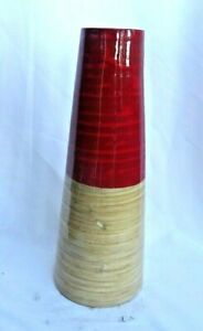 Contemporary Tall Vase (Size: Large) for Indoor Use (Light Brown & Red)