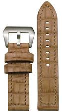 26mm XL Panatime Cork Natural Leather Watch Band w Gator Print & Match Stitch