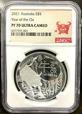 2021 Australia $5 Lunar Year of the Ox Domed 1 oz Silver Proof Coin - NGC PF 70