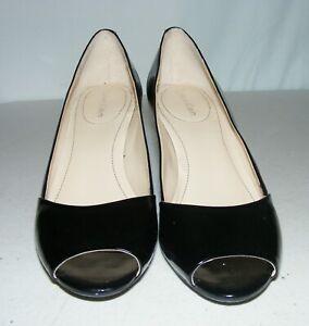 Calvin Klein Women black Patent Leather Open Toe Pump Heel Shoe Size 6 M EUC