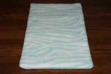New Turquoise Teal Aqua Zebra Animal Print Fleece Dog Cat Pet Carrier Blanket