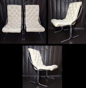 4x VTG Daystrom Mid Century Modern Chrome Cream Tufted Vinyl Sling Dining Chairs