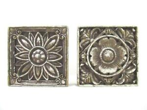 Lot of 2 Hermitage Pottery Floral Rustic Hanging Wall Art Indoor & Outdoor
