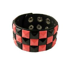 Negro Rosa 3 Fila Pirámide negro tachonado Ajustable Popper Pulsera wristcuff