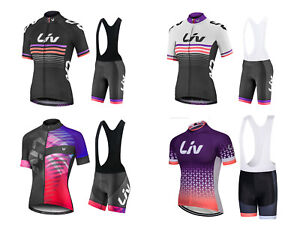 Ladies Liv Cycling Jersey Kit Breathable Top w Pockets Padded Bib Shorts