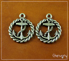 Bronze Anchor & Thick Rope charms ~PACK of 2~ nautical pendant 20mm ship boat
