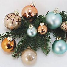 50 Baumkugeln, Weihnachtskugeln, Rödenthaler Living Glas, türkis, braun, neu