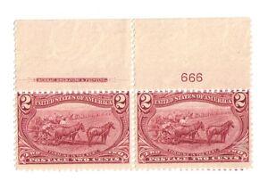 U.S. # 286, 1898 VF MNH  2 Cent Plate # Pair  Copper Red Superb SCV $160