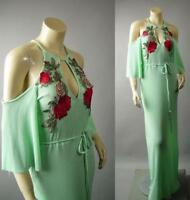 Mint Green Off The Shoulder Rose Embroidery Patch Gown Maxi 239 mv Dress S M L