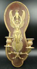 French Napoleon III Figural Sconce 2 Arm Candelabra Bronze on Mahogany Panel