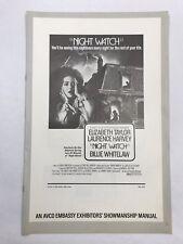 NIGHT WATCH Pressbook 8 Pages 11x17 Movie Poster Elizabeth Taylor Horror 73 1089