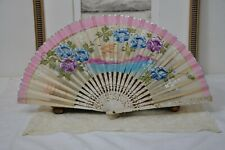 Antique French Hand Fan, 1900s Vintage Paper Ladies Hand Fan, Pink Japanese Fan
