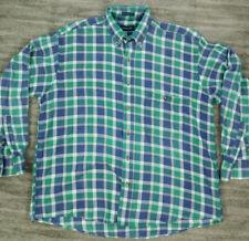 VTG GANT Cambridge Flannel Shirt Mens L Green Blue White Plaid Long Sleeve