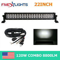 "20""INCH 22inch 120W LED Work Light Bar Combo Bumper Ford ATV Driving UTE+Wiring"