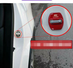 Red Accessories Car Stainless Steel Door Lock Protector Cover Fits For Hyundai