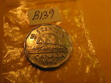 RARE KEYDATE 1947 DOT VARIETY CANADA 5 CENT COIN ID#B139